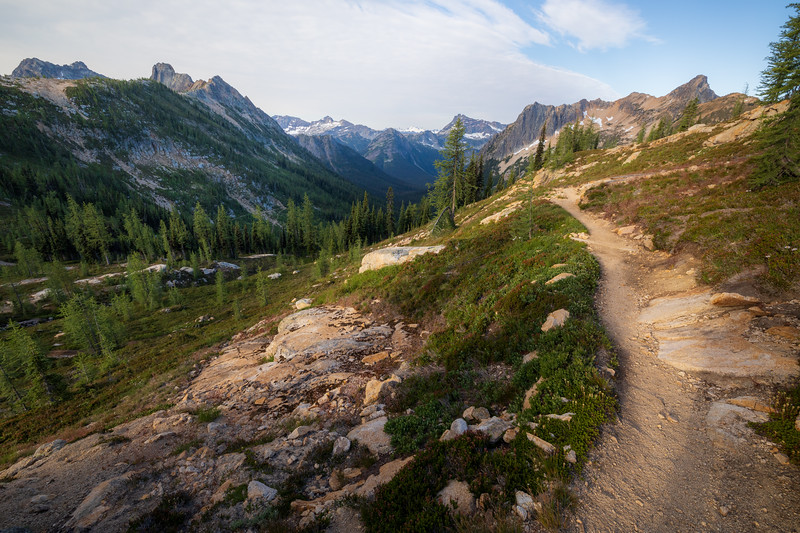 Rainy Pass, Cutthroat Pass - Pacific Crest Trail leading down into Porcupine Valley, angled view