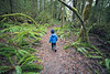 North Cascades, Newhalem - Little boy walking through forest