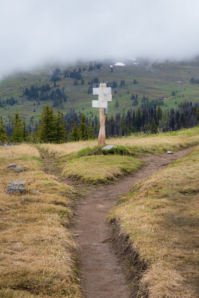 Pasayten, Horseshoe Basin - Trail junction sign at Sunny Pass in the clouds