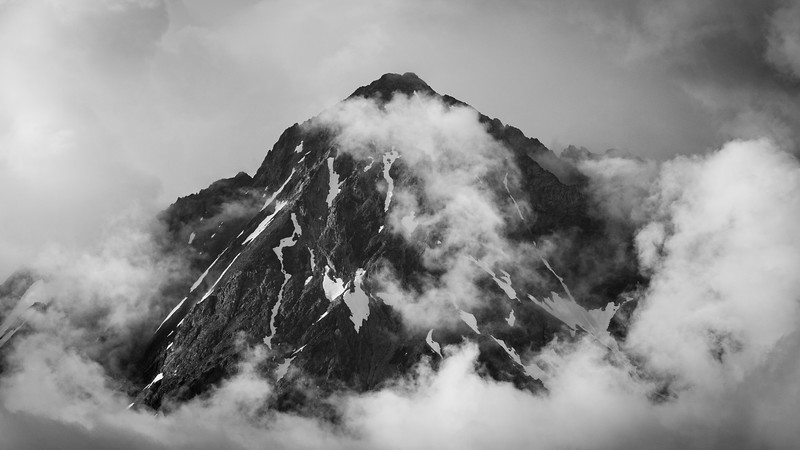 Whatcom, Artist Point - Telephoto portrait of mountain in clouds, black and white