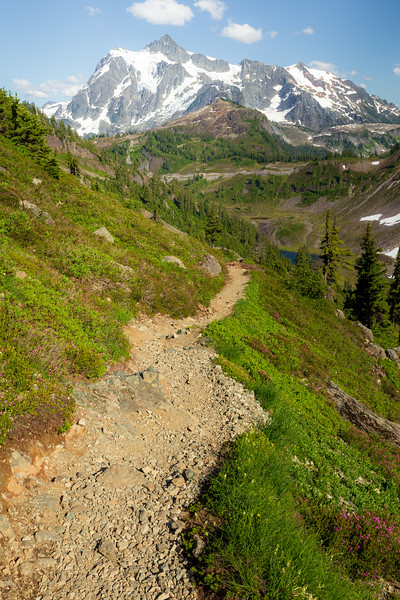 Whatcom, Artist Point - Trail leading towards Heather Meadows with Shuksan in the background