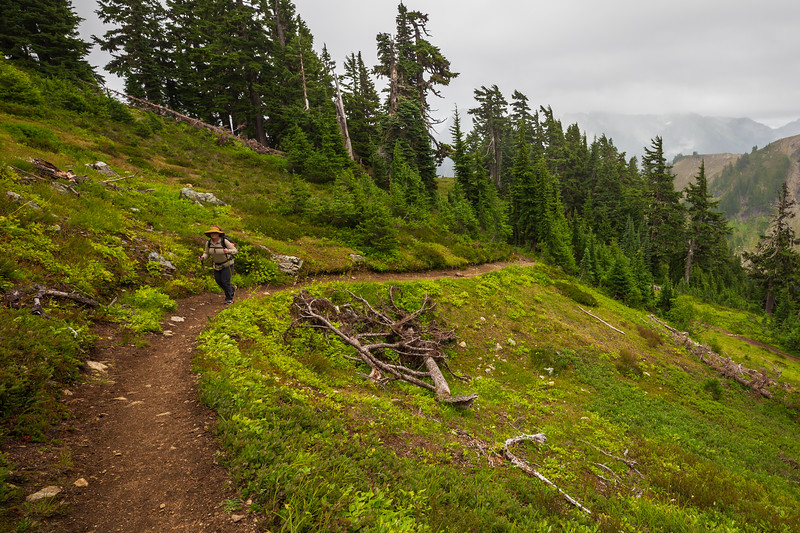 Whatcom, Winchester Mountain - Woman hiking up the trail with foggy mountains in the background