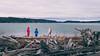 Skagit, Kukutali Preserve - Two little kids on the beach enjoying the view