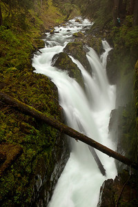 Sol Duc Falls, and for some scale, that is mom in the top right corner of the frame in her blue rain coat.