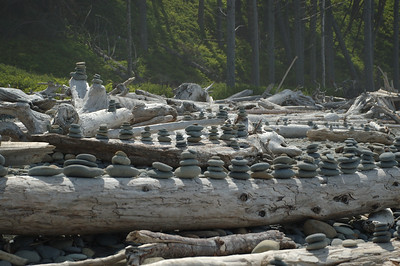 Ruby Beach Tradition; Small Cairns on Logs