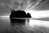 Kalaloch, Ruby Beach - Abbey Island at sunset in black and white