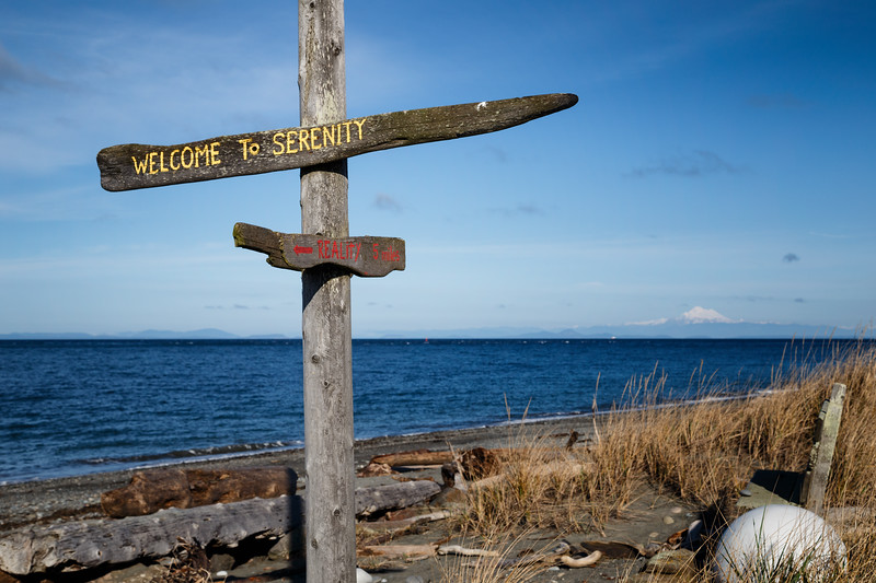 Sequim, Dungeness Spit - Welcome to Serenity sign at end of spit