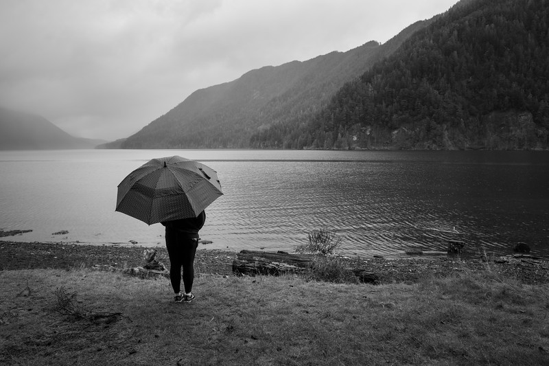 Lake Crescent, Lake - Woman with umbrella looking at lake, black and white