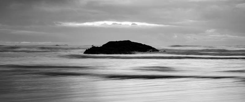Kalaloch, Ruby Beach - Long exposure with rock and bird in rough seas