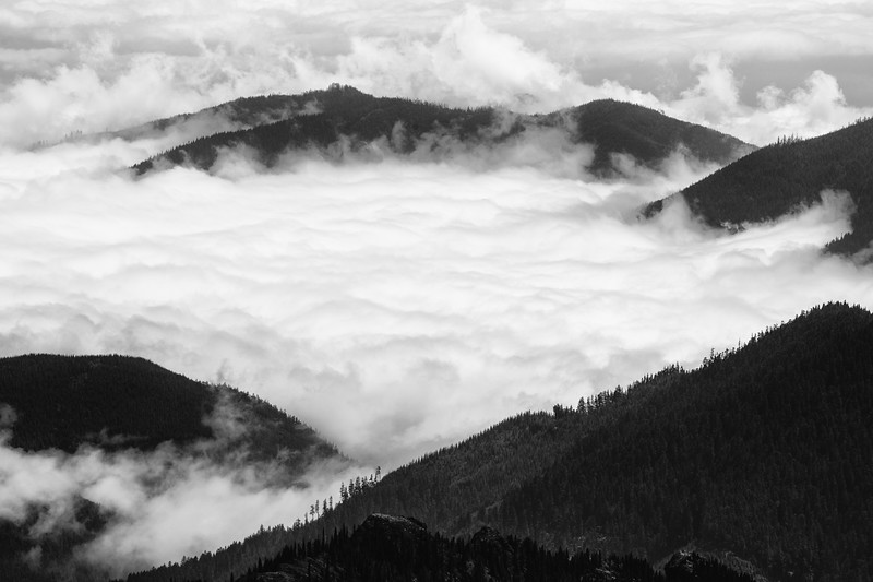 Quilcene, Mt. Townsend - Mountains and ridges peeking above an inversion layer from above, black and white