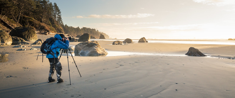 Kalaloch, Ruby Beach - Photographer on beach with tripod near sunset