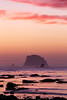 Olympic NP, Ozette Coast - Distant sea stack offshore at sunset