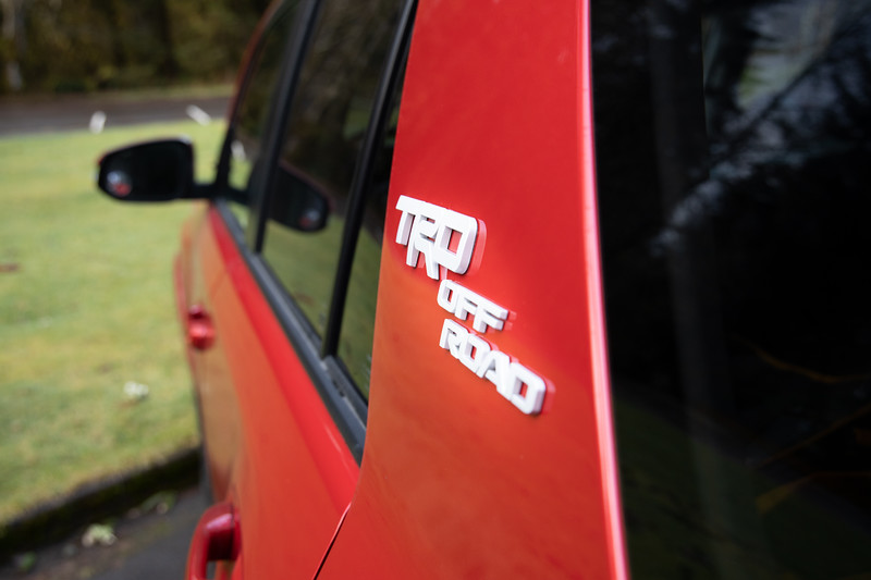 Hoh, Rainforest - TRD Off Road badge on side of red 4Runner getting ready for a hike