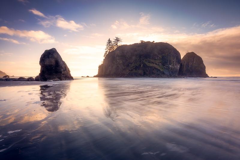 Kalaloch, Ruby Beach - Abbey Island near sunset with adjacent large rock and criss cross surf pattern