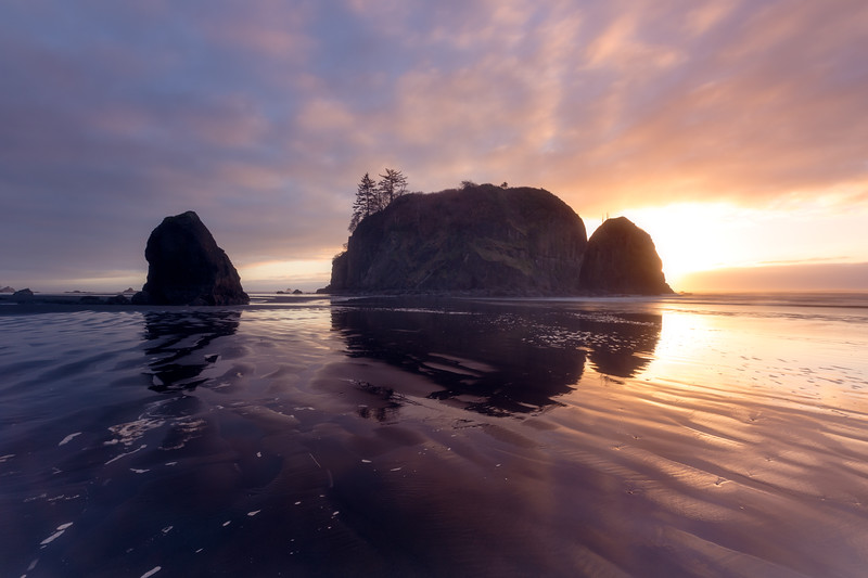 Kalaloch, Ruby Beach - Abbey Island at sunset with sea texture