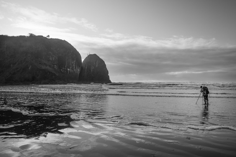 Kalaloch, Ruby Beach - Photographer examining a tidal area and Abbey Island, black and white