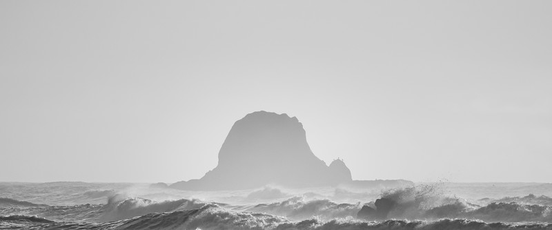 Kalaloch, Ruby Beach - Offshore island with rough seas in front, black and white high key