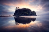 Kalaloch, Ruby Beach - Abbey Island reflected in tide flats with color ring at sunset