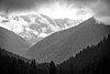 Quilcene, Mt. Townsend - View of distant mountains in the clouds, black and white