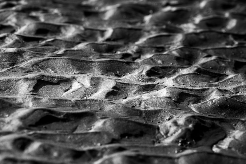 Kalaloch, Ruby Beach - Patterns in sand, black and white