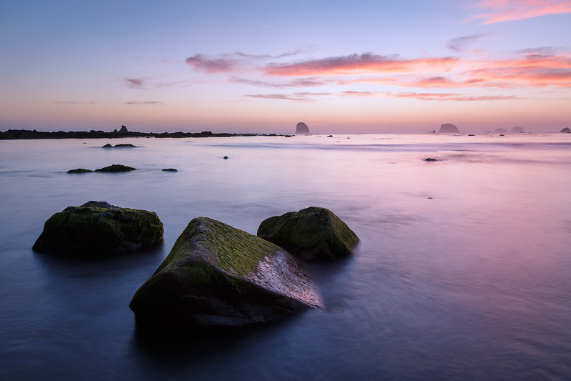 Olympic NP, Ozette Coast - Pink and blue skies at sunset with rocks
