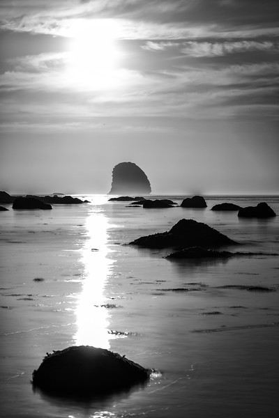 Olympic NP, Ozette Coast - Streak of sun reflected in water at sunset, black and white