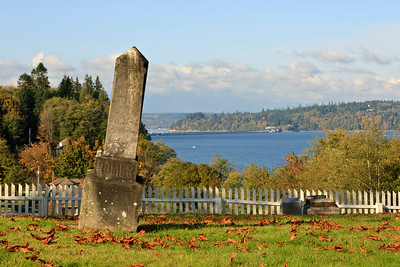 Buena Vista Cemetery, established 1856.  Overlooking Hood Canal and Hood Canal bridge