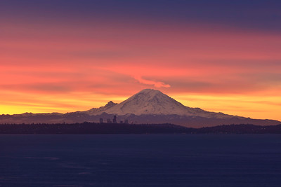 Mount Rainier at sunrise, seen from Kingston
