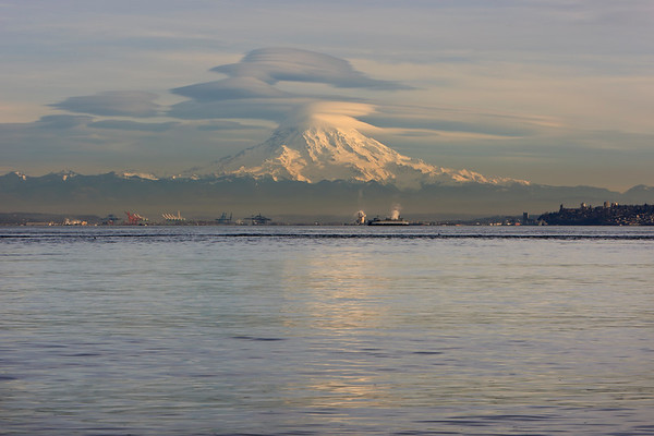 Mount Rainier seen from Gig Harbor.  Tacoma in foreground