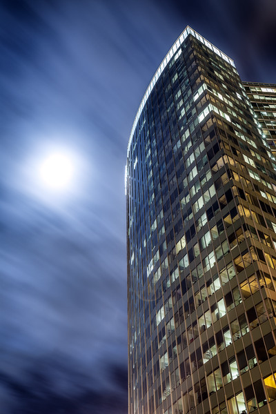 Bellevue, Downtown - View of City Center Plaza and full moon at night with clouds