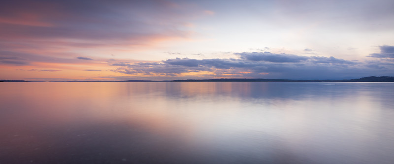 Edmonds, Marina Beach Park - Colorful sunset with calm water, panoramic