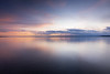Edmonds, Marina Beach Park - Colorful sunset with calm water