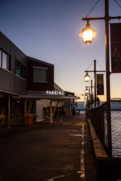 Seattle, Waterfront - Pier with streetlights at twilight
