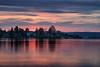 Seattle, Arboretum - Colorful sunrise over Lake Washington and Webster Point