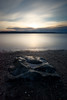 Mukilteo, Beach - Sunset with a rock and tide pool