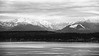 Seattle, Discovery - View of Olympic Mountains and Puget Sound, black and white