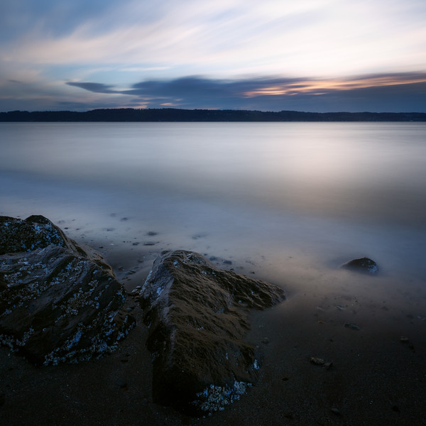 Mukilteo, Beach - Long exposure sunset with rocks and smooth water