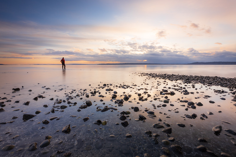 Edmonds, Marina Beach Park - Man standing in calm water at sunset