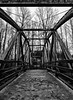 Bothell, Bothell Landing - Bridge over Sammamish River, black and white