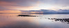 Edmonds, Marina Beach Park - Colorful sunset and sand bar in long exposure, panoramic