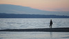 Seattle, Carkeek - Man standing on beach watching the sea post-sunset