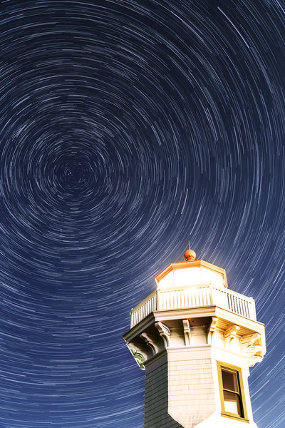 Mukilteo, Beach - Star trails with the lighthouse