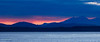 Seattle, Waterfront - Sunset over the Olympic Mountains with layers of blue
