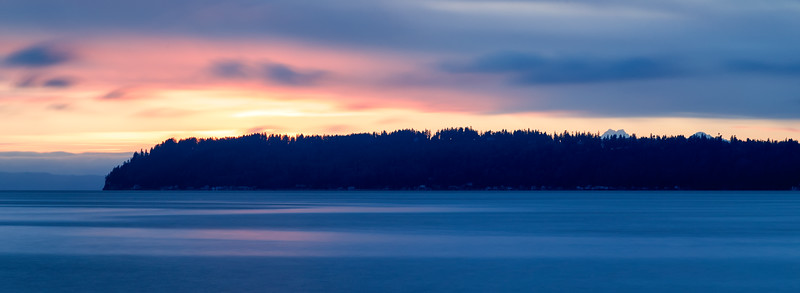 Mukilteo, Beach - Distant island at sunset in long exposure