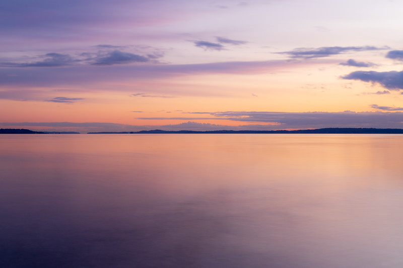 Edmonds, Marina Beach Park - Pastel colors in calm water at sunset