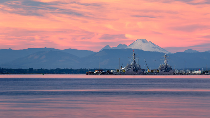 Everett, Howarth Park - Mt. Baker and the Everett Naval facility with two ships in port at sunset
