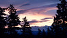 Redmond, MSFT - Sunrise over wintertime mountains with trees in foreground