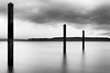 Mukilteo, Beach - Dock pylons reflected in the water, long exposure