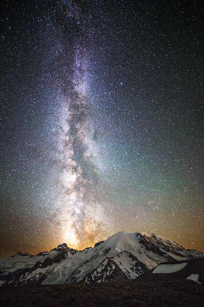 Rainier, Sunrise - Rainbow colored airglow and Milky Way over Mt. Rainier, vertical