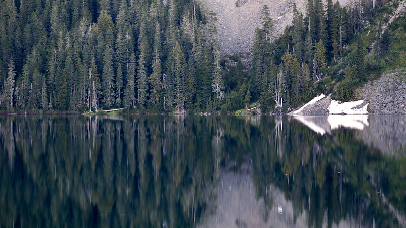 Rainier, Mowich - Lake reflection in early morning with snow cone arrow and trees